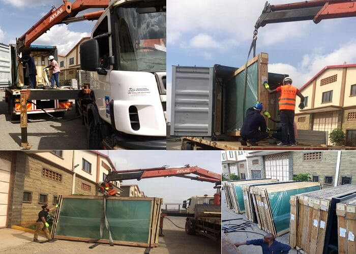 Famio unloading containers With Hi Up Truck